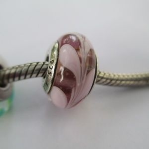 Authentic Pandora pink swirl muano bead